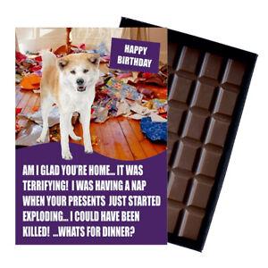 Akita Inu Birthday Card Funny Dog Gift Novelty 100g Boxed Chocolate Bar Greeting