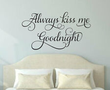 ALWAYS KISS ME GOODNIGHT Love Vinyl Wall Decal Quote Decor Words Lettering Sign
