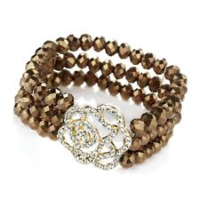 Three Rows of shinny Brown Glass Beads with a large Crystal Flower Head Bracelet