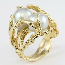 UNIQUE 14k Yellow Gold Claw Nugget Double 2 Baroque Pearl Ring Band Sz 5.5