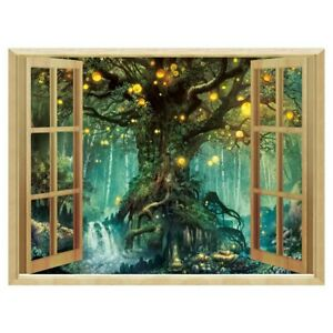 Forest Trees  Wall Sticker Removable Fake Window Nature Landscape Decor Decal