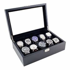 10 WATCH CASE CARBON FIBER PATTERN STORAGE BOX WITH GLASS TOP- NEW WITH DEFECTS