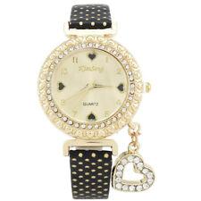 New Women Crystal Watch Bracelet Wrist band Leather Stainless Steel Dial Quartz