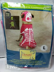 Casual canine glow in the dark pink skeleton costume Halloween dog large L Bones