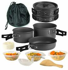 Camping Cookware 11 Piece Outdoor Mess Kit, Utensils and Mesh Carry Bag Included
