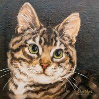 """Cat oil painting 6"""" Pet portrait, Ginger cat, Animal portrait by S.Lee Mark"""