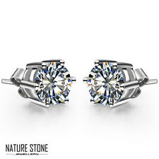 valentine's Gift Natural Diamond White Fire Topaz Silver Stud Earrings 27.5 Cts