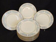 "12pc Lamberton Ivory China EMPIRE Blue & Gold Laurel 10.5"" Dinner Plates, USA"