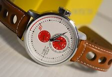 INVICTA S1 RALLY 16018 MULTI-FUNCTION SPORT WATCH, WHITE/RED DIAL, BROWN LEATHER