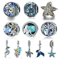 925 Sterling Silver Sea Charms Mermaid Tail Starfish Tropical Fish Beads Charms