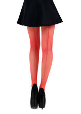 NEW Blood Red Seamed Fishnet Tights, High Quality Back Seamed Tights -100% Nylon