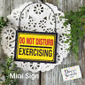 Do Not Disturb EXERCISING Fits over Door Knob * Mini Sign Hanger Yoga DecoWords