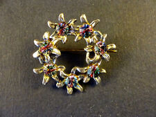 Vintage Floral Brooch with 7 Faux Watermelon Tourmaline: Approx 30mm x 30mm