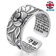 Adjustable Sterling Silver Lotus Flower Ring YogaBuddhist Mantra Occasion