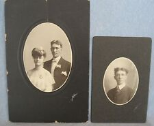 Two Original Cabinet Photos, Same Guy, With a Girl in One, Hand Signed, Nice