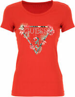 Guess Jeans Womens Floral  Triangle Logo T shirt Red White  W0GI33j1300