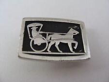 Vintage Men's Tie Bar Clip: Horse Chariot Rikshaw Design