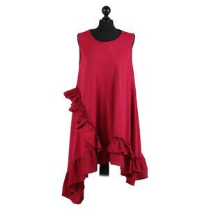 Asymmetric Hem Sleeveless Lagenlook Wine Cotton Dressfrom Timeless Season