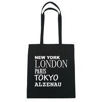 New York, London, Paris, Tokyo ALZENAU   - Jutebeutel Tasche - Farbe: schwarz