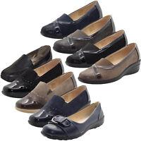 New Ladies Slip on Shoes Mid Wedge Heel Smart Work Pumps Womens Brogues Shoe
