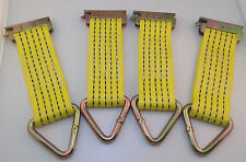 Set of 4 E-Track Clip Nylon Tie-Down Straps with D-Ring 2000 lb MBS Color Yellow