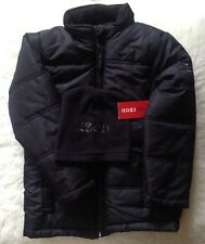 New IZOD USA boys black padded jacket with fleece cap pockets 4yrs 104cm