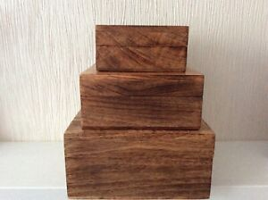 Set of Three Wooden Jewellery Trinket Boxes Graduated Size fit inside each other