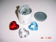 Lot 4 Swarovski Crystal Paperweights Clear Red & Blue Hearts and Clear Scs Ball