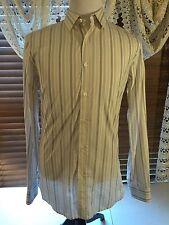 Mens HUGO BOSS M Medium Red Label Slim Fit LS Dress Shirt Ivory & Brown EUC