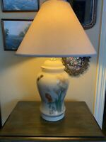 Vintage Asian White Iris Butterfly Hand Painted Glass And Porcelain Lamp Signed