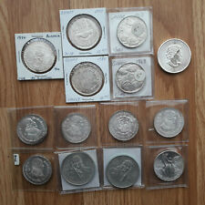 Lot of 14 foreign silver coins; see pics. About 5.78 oz of silver!!!