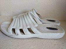 Okabashi white/gray rubber slip-on Sandals Made in USA Womens Medium 6.5-7.5