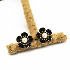 Black enamel plum flower stud earrings with white pearl