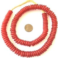 Handmade Red Ghana disk Krobo Recycled Glass African trade beads-Ghana