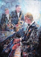 "BEAUTIFUL SERA KNIGHT A.S.W.A  ORIGINAL ""Piano and Saxophone"" PAINTING"