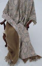 reversibile Plaid in Lana Coperta Copriletto 100% LANA + cotone raso 140x200
