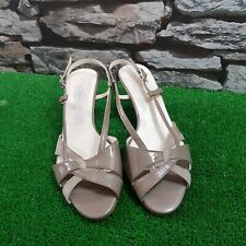 Ladies ZODIACO Peep Toe Slingback Low Heel Shoes Size 3.5  Leather Made In Italy