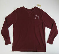 Cotton Shirt 71 Large Cremieux Mens Burgundy Crewneck Long Sleeve