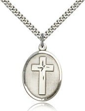 "925 Sterling Silver Cross Medal Necklace For Men 24"" Chain 30 Day Money Back"