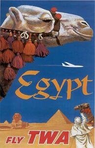 """Vintage TWA """"EGYPT"""" Travel Poster"""