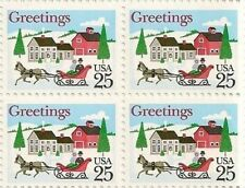 US 2400 Holiday Sleigh and Village 25c block MNH 1988