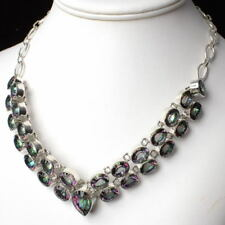 """Large .925 Silver Green MYSTIC TOPAZ Gemstone NECKLACE 18"""" ~ 359 carats!!"""