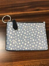 COACH KEY POUCH WITH GUSSET WITH Star Print Silver Hardware Blue