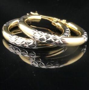 Edle Gold-Ohrringe 585 14K Bicolor Gelb/Weiss CREOLEN in zauberhaftem Design !**