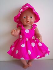 "BABY BORN 17"" DOLLS CLOTHES HOT PINK SUMMER OUTFIT"