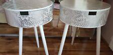 Bedside tables finished in silver leaf decoupage