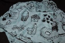 Primitives by Kathy Blue Scarf with Fun Food Motifs In Black w Black Tassels