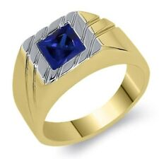 2.20 Ct Princess Simulated Sapphire 18K Yellow Gold Plated Silver Men's Ring