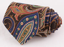 Faconnable Brown Paisley 100% Silk Mens Neck Tie Made In France