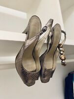 Damen PEEPTOES 38 Leder Metallic Fischgräten Schuhe Offene Pumps  Absatz Italy